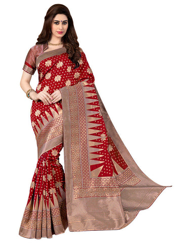 Designer Bridal Red Woven Partywear Banarasi Art Silk Pattern Wedding Saree With Blouse
