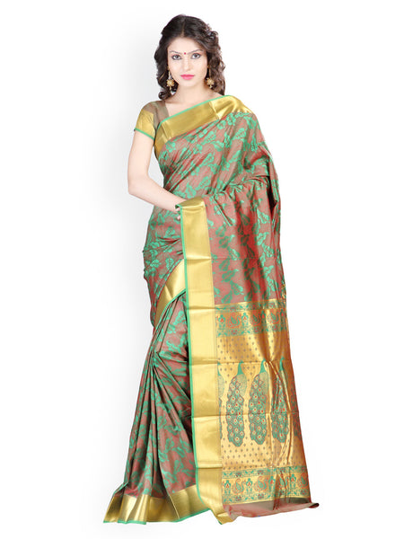 Designer Green Printed Banarasi Art Silk Saree With Mordern Leaves Desgin And Emboss Pattern Sarees