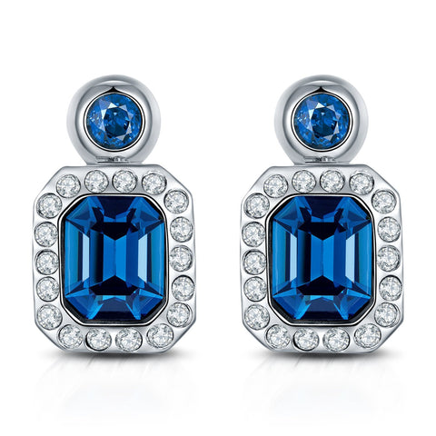 Blue Nebula Rhodium Plated Drop Earrings For Women