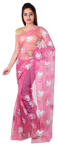 Baby Pink Net Saree With Silver Print Work