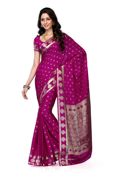 Traditional Crepe Sarees Ethnic Print & Paisely Border & Pallu Design Sarees