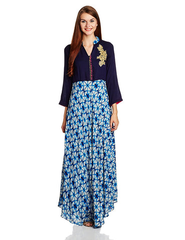 Fancy Designer A-Line Printed Kurta With Sequins Work - Designer Kurtis
