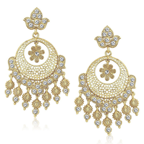 White Golden Kundan Pearl Daimond Dangle & Drop Earring For Women