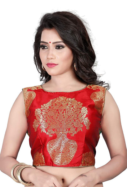 Latest Blouse Designs Red Jacquard Work Readymade Saree Blouse Crop Top