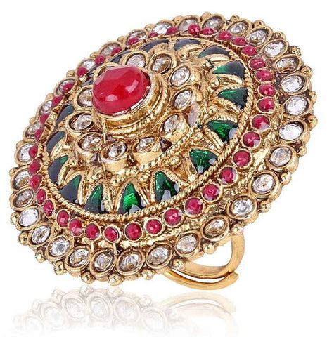 Designer Jewellery Multicolor Gold Plated Ring For Women
