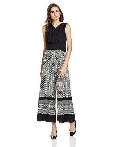 Black And White Jumpsuit With Graphical Print