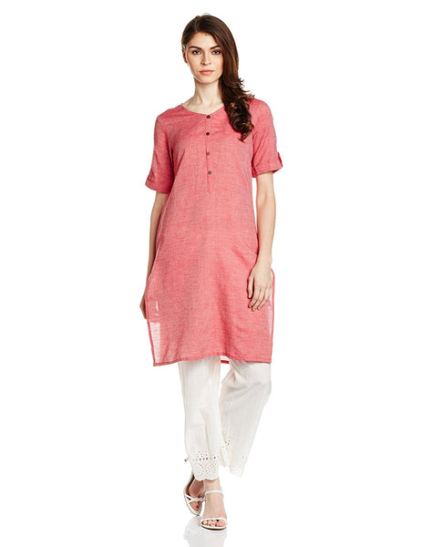 Plain Cotton Kurtis Kurtas Peach Color Straight Short Kurtis For Girl K81