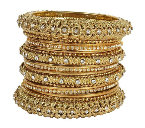 Designer 22k Gold Plated Set Of Antique Look Bangles For Women & Girls Partywear Jewelry