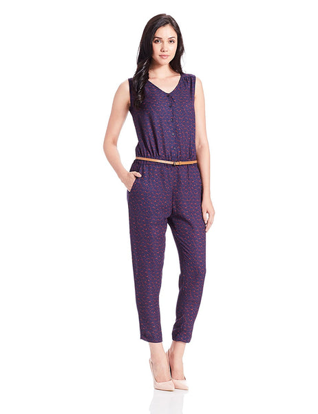 Casual Jumpsuits Purple Color Sleeveless Printed Jumpsuits