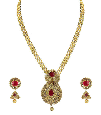Pearls Gold Non-Precious Metal Pendant Necklace With Jhumki Earring For Women