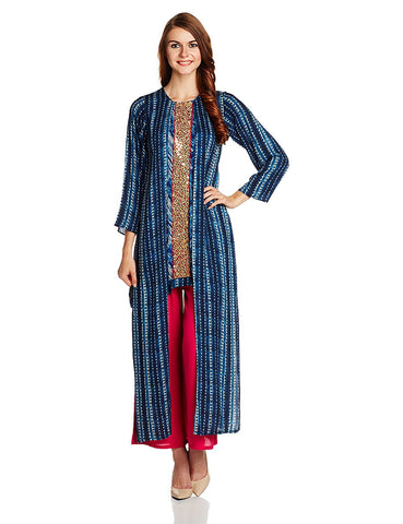 Designer Straight Cut Tie And Dye Printed Kurta - Designer Kurtis
