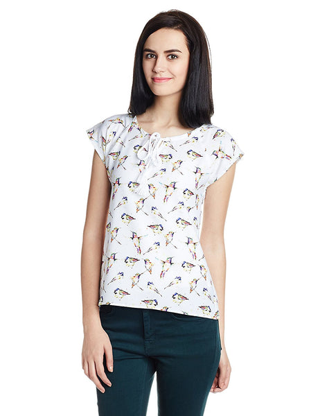 White Color Polyester Casual Top For Girls With Printed Work Ladyindia39