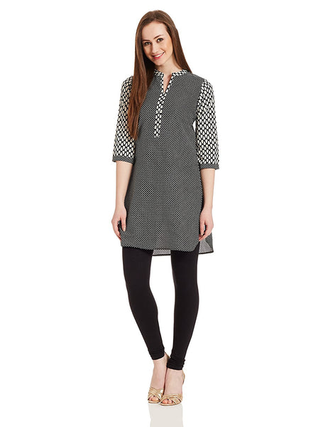 Straight Short Kurta Black & White Cotton Kurtis With Printed Work K94