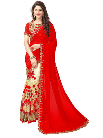 Red Color Party Wear Fancy New Embroidery Net Saree Festival Special Collection