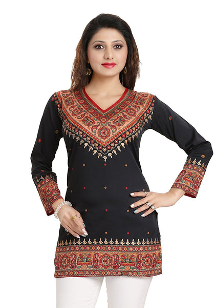 Designer Short Kurtis Black Color Polyester Fabric Short Kurtis Kurta With Gold Foil Print K28