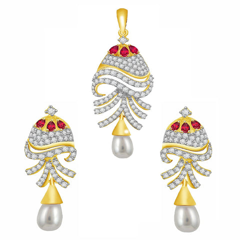 Gold Plated Pure Silver Designer Dangling Style Pearl Jhumki Earrings Pendant Set For Women