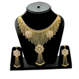 Designer Cz American Diamond Queen Full Neck Gold Plated Necklace & Earrings Set For Women