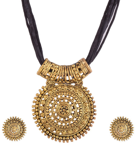 Black Oxodised Brass With Thread Chain Metal Pendant Necklace With Earrings For Women
