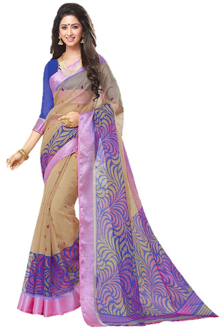 Designer Printed Organza Silk Saree With Blouse Piece For Women