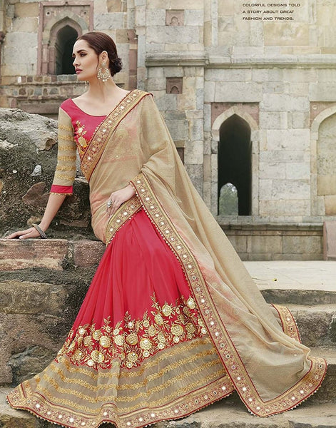 Designer Women's Georgette Red & Beige Mirror Work Chiffon Wedding Saree