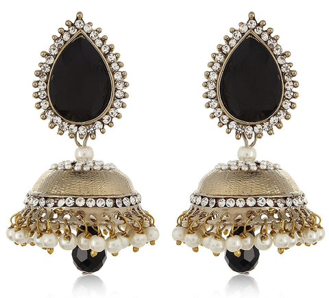 Designer Jewellery Black Pearl Fancy Party Wear Jhumki / Jhumka Earrings For Girls And Women