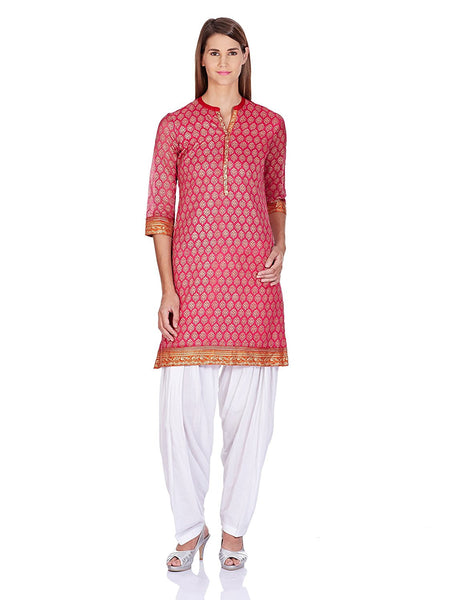 Straight Synthetic Short Kurta Kurti Pink Color Printed Short Kurtis For Girl K79