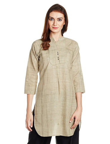 A- Line Short Kurta Kurtis Beige Color Plain Cotton Kurtis For Girl K66