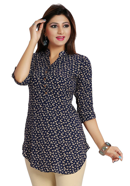 Short Kurtis Online Blue Color A- Line Rayon Printed Kurti For Girl K56