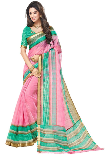 Women's Kota Silk Saree With Blouse Piece For Woman