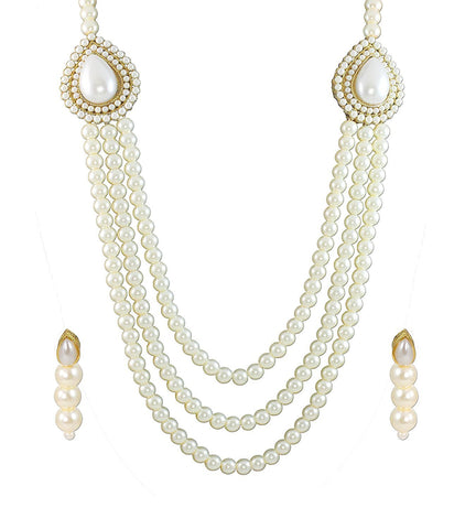 Pearls Jewellery White Multistrand Moti Rani Haar Necklace Set For Women