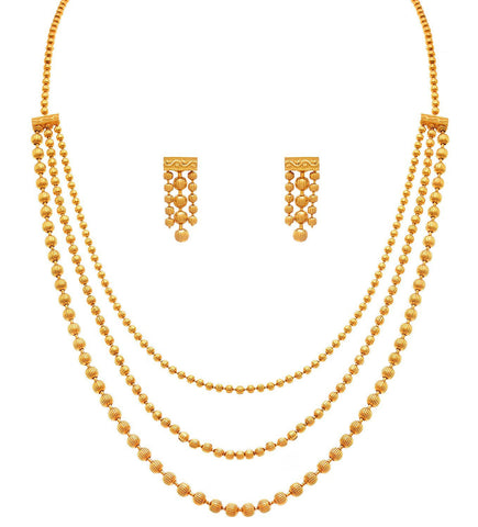 Gold Plated Multi Strands Round Gold Bead Necklace With Earrings Set Jewellery For Less One Gram