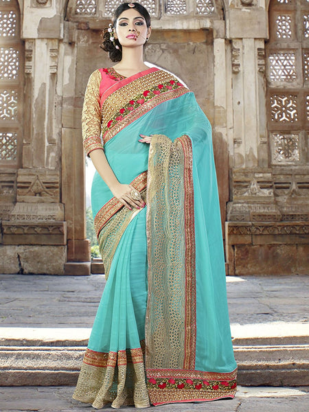 Designer Blue Wedding Saree With Heavy Georgette Jari & Stone Work Saree With Attractive Border