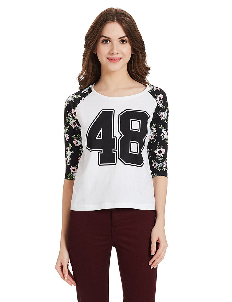 265c00e36 Online Girls T-Shirt Black   White Color Graphic Print Daily Wear T-Shirt  For Girl – Lady India