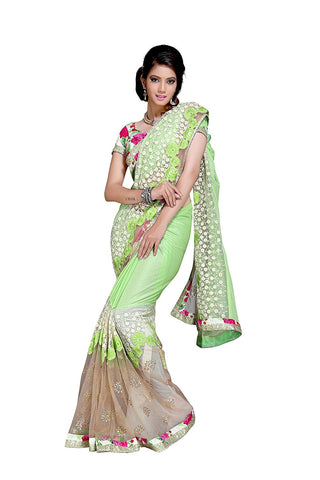 Designer Net Saree For Women's Party Wear Mint Green Floral Print Net Saree
