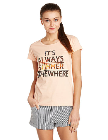 Online Girls s T-Shirt Beige Color Cotton Printed Casual T-Shirt For Girls Ladyindia32