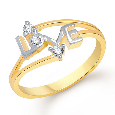 Designer Jewels Love Gold And Rhodium Plated Ring For Girls