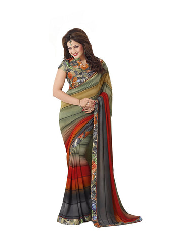 Multicolored Georgette Saree With Floral Printed Border and Blouse Light Weight Georgette Designer Sarees