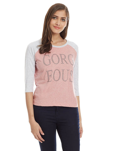 Baby Pink Color T- Shirts For Girls s Online Casual Cotton Stone Work T-Shirts For Girls Ladyindia26