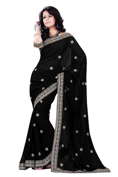 Georgette Sarees With Boti & Embroidery Lace Border Work S059