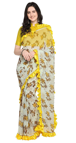 Women's Light Green and Yellow Poly Georgette Printed Ruffle Saree