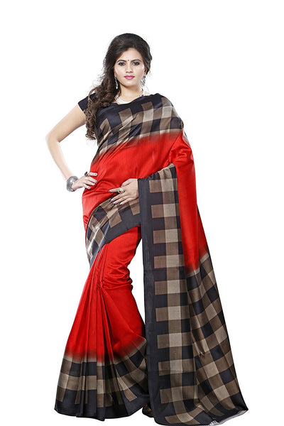 Red Color Bhagalpuri Silk Sarees With Checks Print Border Work S098