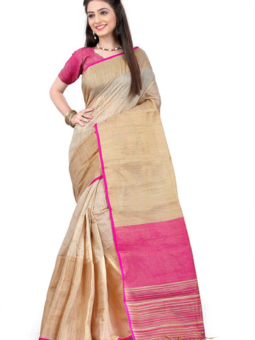 Beige & Pink Color Handcraft Work Linen Silk Sarees S039