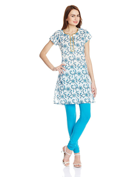 Designer Straight Short Kurti With Floral Print Work K98