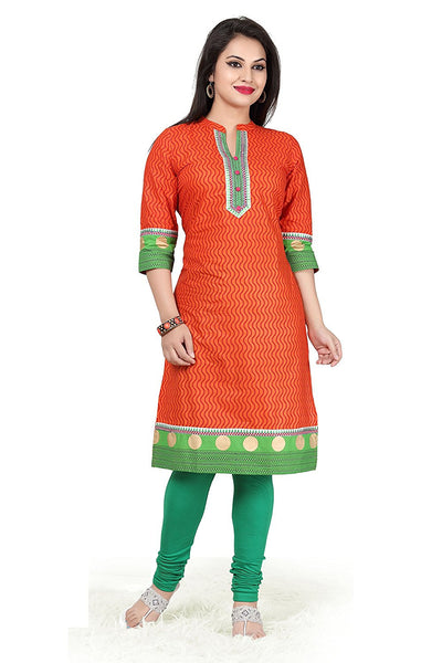 Long Cotton Kurtis Orange & Green Printed Cotton Kurti for Women
