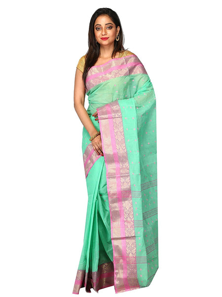 designer-aqua-green-with-elegant-pink-zari-border-with-mango-motifs-bengal-handloom-cotton-saree
