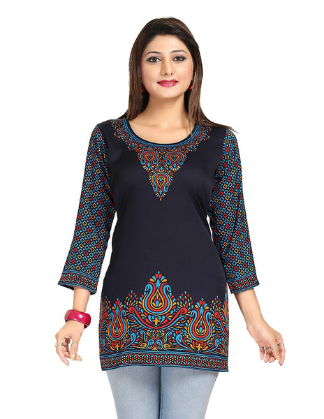 Short Kurtis Kurta Royal Blue Color Designer Short Kurtis With Digital Print Work K26