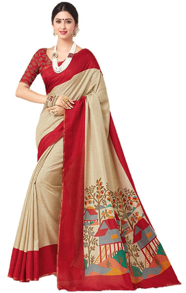 Cotton Sarees With Attached Embroidery Border Blouse Piece For Women | Party Wear