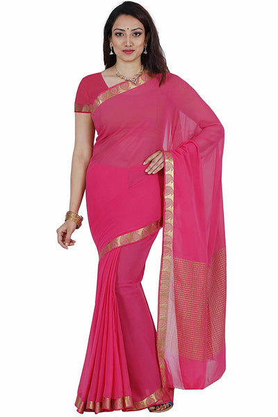 Pink Color Plain Chiffon Sarees With Lace Border Work S032