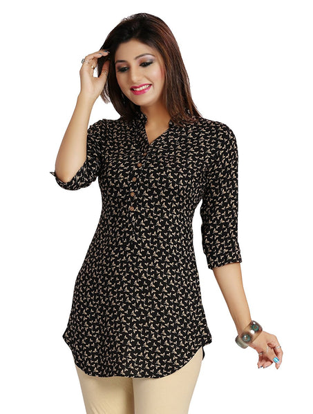 Short Kurtis Online Black Color A- Line Rayon Printed Kurti For Girl K55