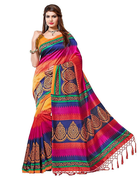 Multicolor Pure Cotton Silk Sarees With Printed & Lace Work S010